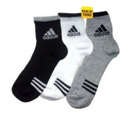 Adidas Men Socks (White, Black, Grey ) - Combo Pack of 3